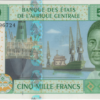 Чад 5000 франков 2002 г.UNC из пачки