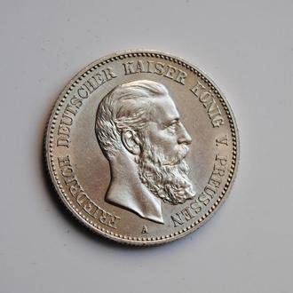 Пруссия 2 марки 1888 г., UNC, 'Бюст Фридриха III'