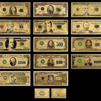 Золотая банкнота 100000Долларов.