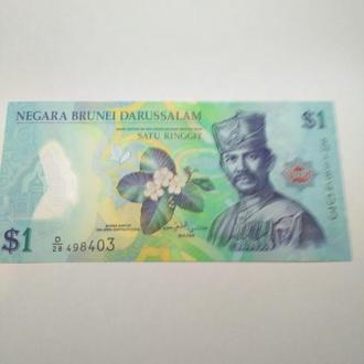 Бруней, 1 доллар 2013, пресс, unc,  полимер, оригинал