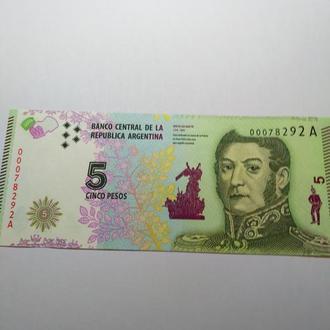 5 песо, Аргентина, пресс, unc, оригинал