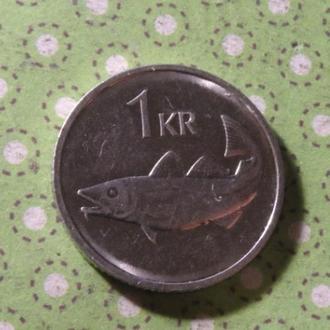 Исландия 2011 год монета 1 крона рыба !
