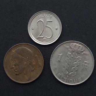 Набор монет Бельгии 1 франк ,50 и 25 сантимов К3.9