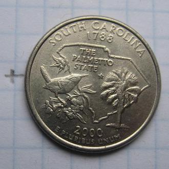 """CША, 25 центов 2000 года (ШТАТ ЮЖНАЯ КАРОЛИНА) """"Р""""."""