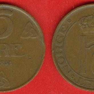 Норвегия, 5 оре, 1938 г.