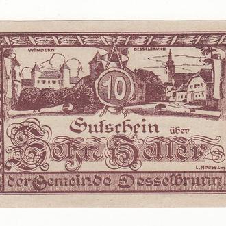 Нотгельд 10 геллеров Дессельбрунн 1920 Австрия