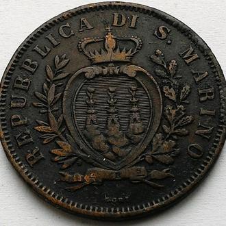 Сан-Марино 10 чентезимо 1875 год НЕ ЧАСТАЯ!!! тираж 150 000