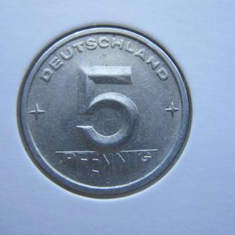 монета 5 пфеннигов Германия ГДР 1952 А