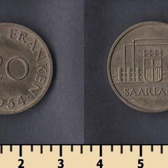 Саарленд 20 франков 1954