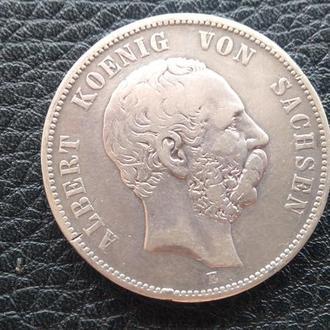 Пять  Марок Германия Саксония Альбэрт Серебро-1875 год.