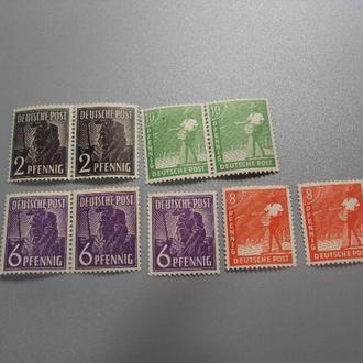 марки серия сцепки Германия стандарт Оккупация союзниками 1947 года профессии лот 9 шт негаш №1960