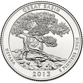 25 центов США  Невада Грейт-Бейсин 2013 г. из ролла