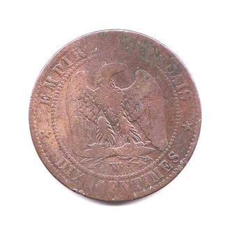 Франция 1853 г -10 сантимов  - 2 скана - фауна -