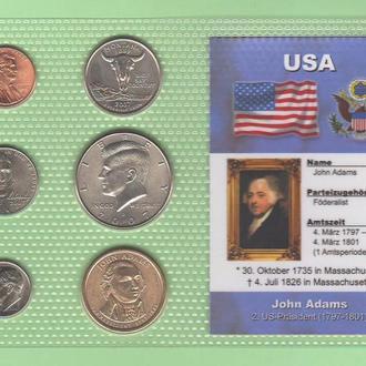 Набор монет США 2 -й Президент США - Адамс - Adams - пластик блистер запайка