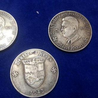 """5 марок 1942 года. Монета третьего рейха """"Крым - наш!"""""""