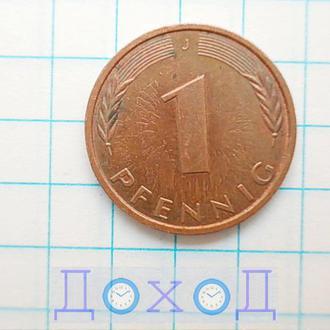 Монета Германия ФРГ 1 пфенниг 1991 J Гамбург Сталь с медным покрытием магнит