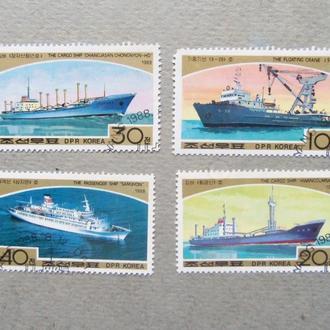 марки-Корея  -корабли-(А2) 4  марки- гашеные-1988год