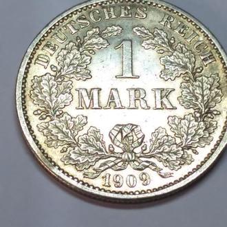 1 марка 1909 G, Германская империя, серебро, оригинал, сохран!