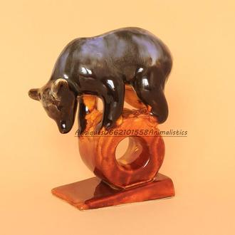 Фарфоровая статуэтка фарфор фаянс ЗИК Конаково Цирковой медведь на колесе