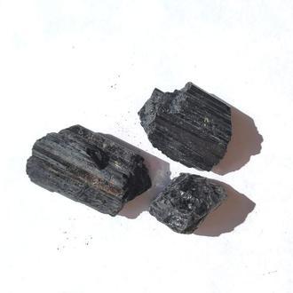 Шерл Черный турмалин 32,3 грамм 3 шт
