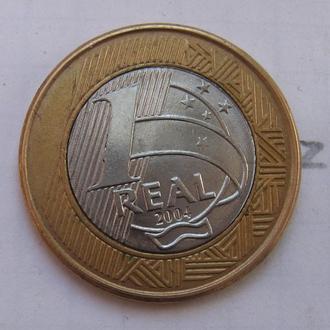 БРАЗИЛИЯ. 1 реал 2004 года (БИМЕТАЛЛ).