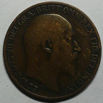 Англия 1 пенни 1908 год