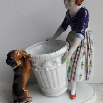 Девочка с такса у корзины, Hertwig & Co, Katzhutte, Германия, 1920-30 гг