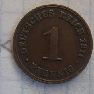 ГЕРМАНИЯ 1 пфенниг 1911 года.