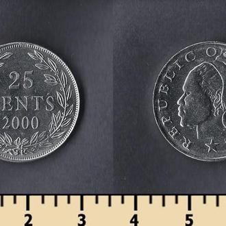 Либерия 25 центов 2000