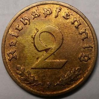 2 пфеннига 1938 F год СВАСТИКА!!!