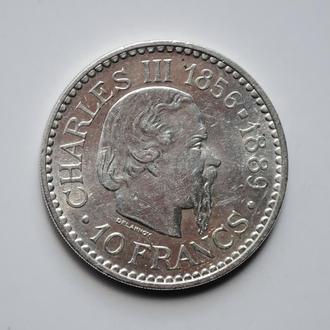 Монако 10 франков 1966 г., UNC, '110 лет вступлению на престол Чарльза III'