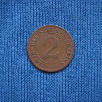 Германия ВЕЙМАР 2 пфеннига 1924 г