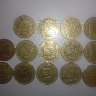 14 монет 25 коп. 1992 года 10 монет 50 коп 1992 года . 5 монет 50 коп 1994 года