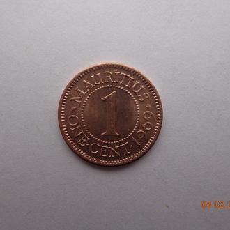 Британский Маврикий 1 цент 1969 Elizabeth II СУПЕР состояние редкая