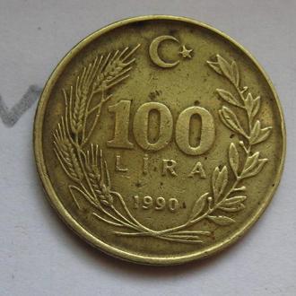 ТУРЦИЯ 100 лир 1990 года.