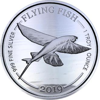 Серебряная монета Летучая Рыба 2019 Барбадос 1 доллар 1oz