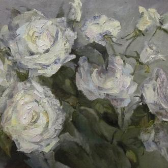 Белые розы. Холст, масло. 45х50. Яцына Н.