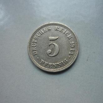 Германия 5 пфеннигов 1911 D