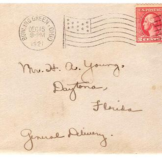США  1921 г  - конверт  -  прошел почту - 2а  скана  -