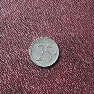 Бельгия,25 сантимов,1975г.