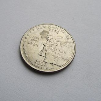 25 центов США Америка штат Нью Хемпшер D 2000 г