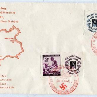 Конверт, печатки - ДН Гітлера. 1941 р. Чехія і Моравія.