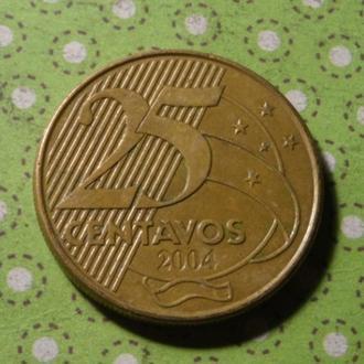 Бразилия 2004 год монета 25 сентаво !
