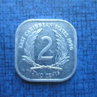 монета 2 цента Карибские штаты 1996