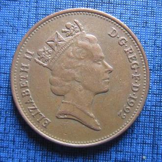 Монета 2 пенса Великобритания 1992