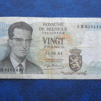 банкнота 20 франков Бельгия 1964