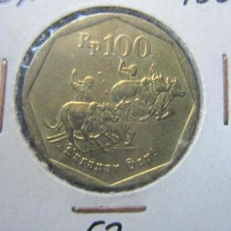 монета 100 рупий Индонезия 1997 фауна буйволы