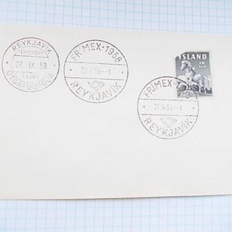 №184 Конверт гашеный с маркой Рейкьявик Исландия 1958 14 х 9 см.