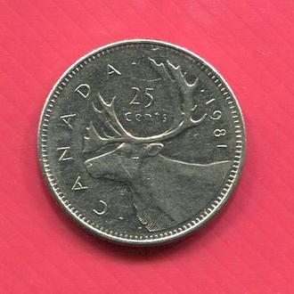 Канада 25 центов 1981 Лось