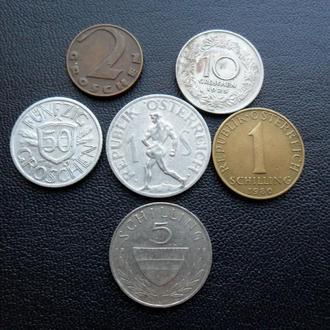 Подборка набор монет Австрия 1925 - 1980 г.г. грош шиллинг